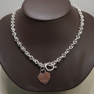 Sterling Silver .925 Heart Necklace W/Toggle Clasp